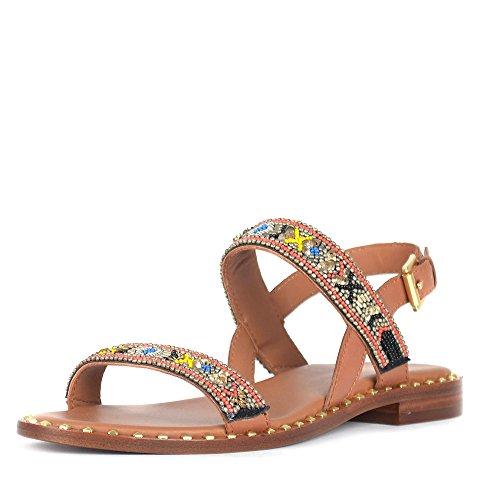 Ash Footwear Zapatos Papaya Sandalias de Cuero Maron Mujer Tan