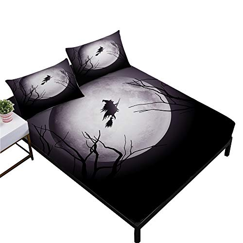 Rhap Sheets Twin Size, Cartoon Halloween Printed Twin Size Bed Sheets Set of 3 Pieces, Dark Witch Halloween Decor Twin Size Fitted Sheet Set ()