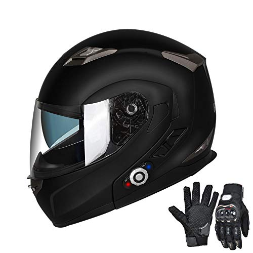 FreedConn Bluetooth Motorcycle Helmets Integrated Modular Flip up Dual Visors