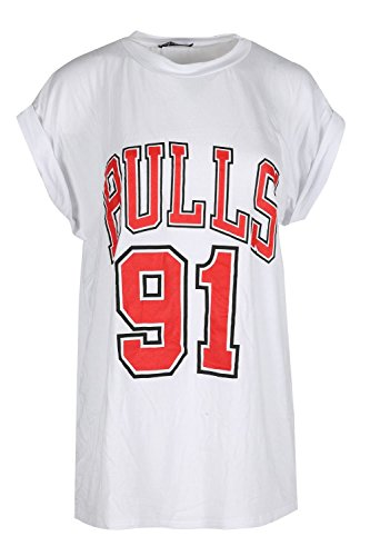 Womens Ladies BULLS 91 Round Neck Turn Up Sleeves Baggy Oversized T Shirt Top