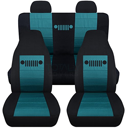 Totally Covers Fits 2002-2007 Jeep Liberty Seat Covers with Molded/Adjustable Front & Rear Headrests: Black & Teal - Full Set (23 Colors) Split Bench Bucket 2003 2004 2005 2006 SUV