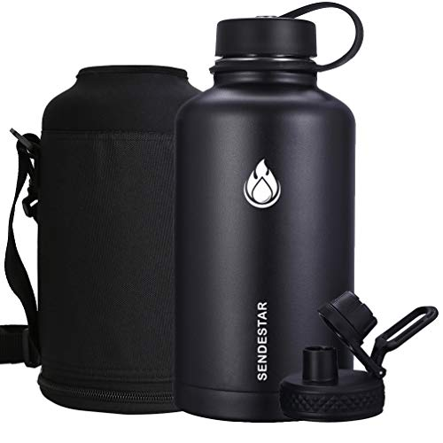 SENDESTAR 64 oz Beer Growler Double Wall Vacuum Insulated Leak Proof Stainless Steel Water Bottle -Wide Mouth with Flat Cap & Spout Lid Includes Water Bottle Pouch (Black) (Best Insulated Water Jug)