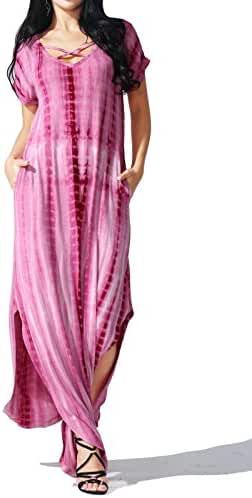JayJay Women Casual Maxi Tie Dye Print Long Dress With Pocket