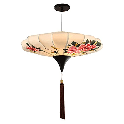 Leihongthebox Ceiling Lights lamp Bird hand-painted chandeliers hanging fabrics in Chinese hand-painted lanterns lamp lights for Hall, Study Room, Office, Bedroom, Living Room,500h280mm
