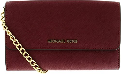 Michael Kors Jet Set Large Leather Phone Crossbody in Mulberry by Michael Kors