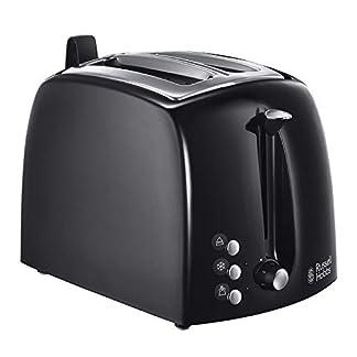 Russell Hobbs Toaster Textures+, 2 extra breite Toastschlitze, Brötchenaufsatz & integrierte Toast-Zange, 6 einstellbare Bräunungsstufe + Auftau- & Aufwärmfunktion, 850W, Toaster schwarz 22601-56 1