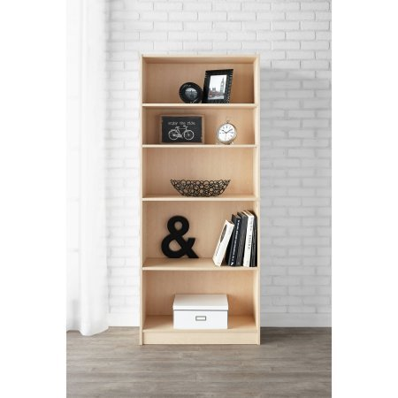 Bookcase Birch (Mainstay 5-Shelf Wood Bookcase 3 Adjustable And 2 Fixed shelves Natural Birch Laminate Finish)