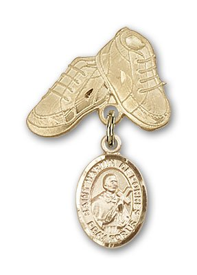 Religious Obsession Gold Filled Baby Badge with St. Martin de Porres Charm and Baby Boots Pin