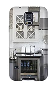 linJUN FENGGalaxy S5 Case Cover - Slim Fit Tpu Protector Shock Absorbent Case (kitchen With Open Dispaly Shelving And Wine Refrigerator)