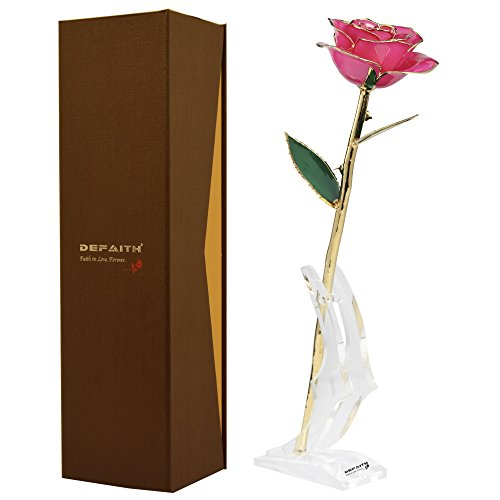 Pink Gold Rose, DEFAITH 24K Gold Trimmed Long Stem Real Rose with Moon-shape Rose Stand. Last a Lifetime. Best Anniversary Gift.