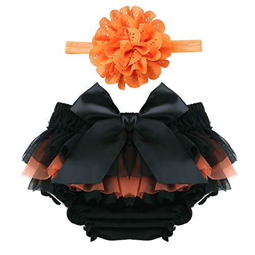 Alvivi Infant Baby Girls Cotton Tulle Ruffle Diaper Covers Bloomer with Flower Headband Black&Orange 3-6 Months (Baby Fancy Panties)