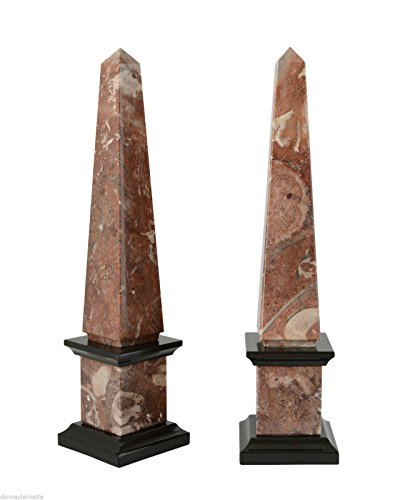 COPPIA OBELISCHI Bicolore in Marmo Rosso Fossile Nero Red & Black Marble Obelisk H. 40 CM (Black Marble Obelisk)