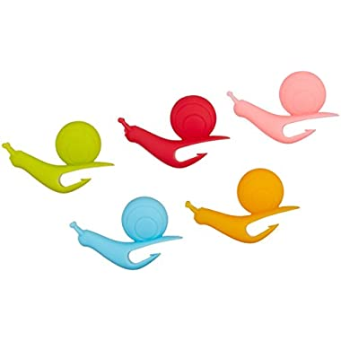 5pcs Snail Shape Silicone Tea Bag Holder Cup Mug Candy Colors Gift Set