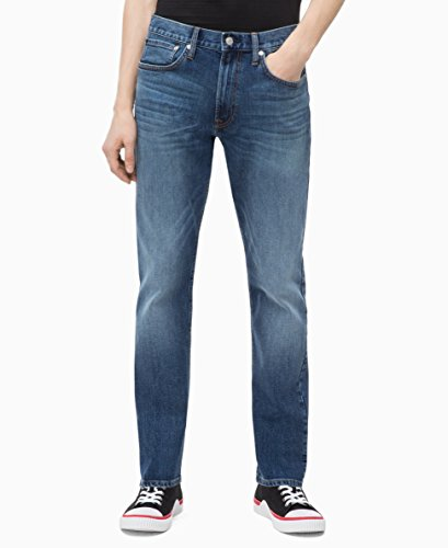 Calvin Klein Men's Athletic Taper Fit Jeans, Houston Mid Blue, 34W x 32L