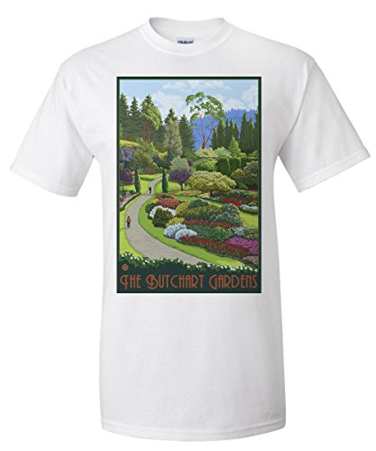 Butchart Gardens Framed (Brentwood Bay, Canada - Butchart Gardens (White T-Shirt XX-Large))
