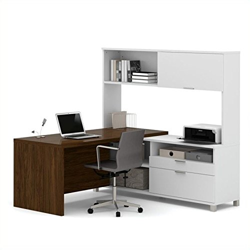 Bestar Pro-Linea L-Desk with Hutch, White/Oak Barrel For Sale