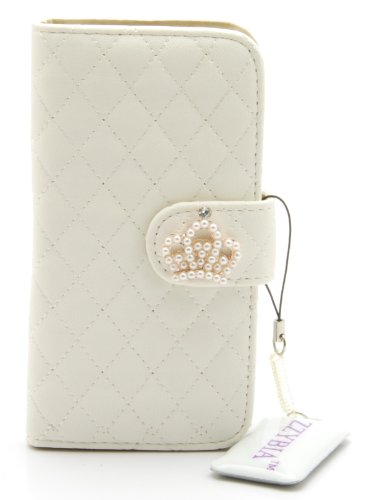 ZZYBIA® IP5 QC Leatherette Stand Case Card Holder Wallet with Screen Cleaning Pad for Apple Iphone 5 5s (Off White)