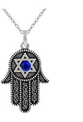 Lucky Hamsa Hand Evil Eye Protection Silver Tone Necklace Pendant w/ Blue Crystal Stone
