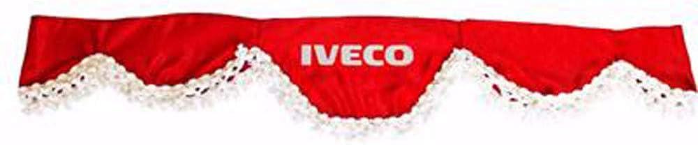 AutoCommerse sat/én, borlas blancas, para camionetas HGV, color rojo Cortina para parabrisas delantero