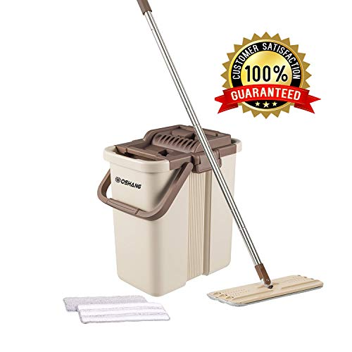 - Oshang Flat Squeeze Mop and Bucket - Hand-Free Wringing Floor Cleaning Mop - 2 Types Washable & Reusable Microfiber Mop Clothes/Pads Included - Wet or Dry Usage on Hardwood, Laminate, Tile