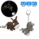 Glumes Cute Donkey Keychain with LED Flashlight and Sound Effects 3D Cute Cartoon Key Holder For Children Designer Key Ring for Kids Christmas Thanksgiving Gift 1 PCS