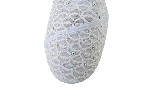 Lacet Femmes Slip Sur Foral Dentelle Appartements Chaussures Toile Net Ballerine Rhinestone Plat Casual Bateau 16-blanc