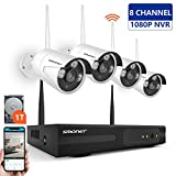 【2019 New】 Wireless Security Camera System,SMONET 1080P 8 Channel Video Security System(1TB Hard...