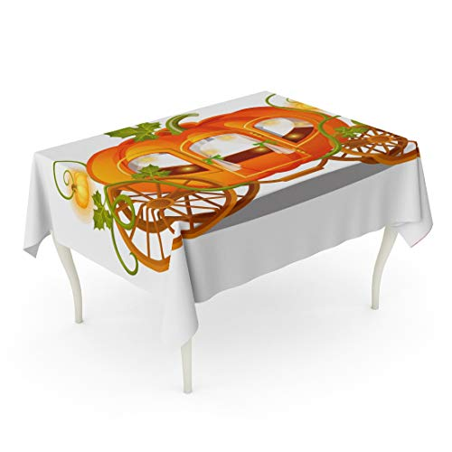 Tarolo Rectangle Tablecloth 52 x 70 Inch Orange Fairy Vintage Horse Carriage of Pumpkin Florid Sketch for The Holiday Halloween Thanksgiving Day Cartoon Car Table Cloth ()