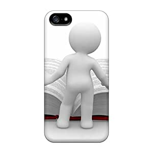 For DaMMeke Iphone Protective Case, High Quality For Iphone 5/5s Clipart Man Book Huge Reading Knowledge Skin Case Cover