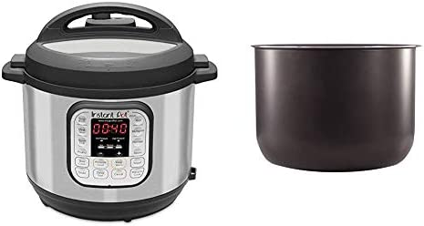 Instant Pot Duo 7-in-1 Electric Pressure Cooker, Sterilizer, Slow Cooker, Rice Cooker, Steamer, Saute, Yogurt Maker, and Warmer, 8 Quart, 14 One-Touch Programs & 8 Quart Ceramic Cooking Pot