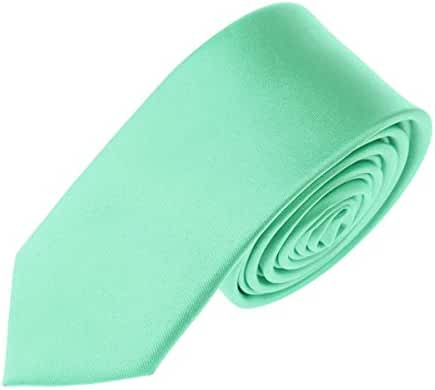 Mens Skinny Tie Teens Solid Color Neckties 2 Inch