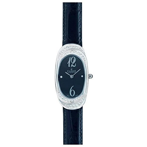 Charmex L's Strap Watch 5786 47mm Stainless Steel Case Black Calfskin Synthetic Sapphire Women's Watch