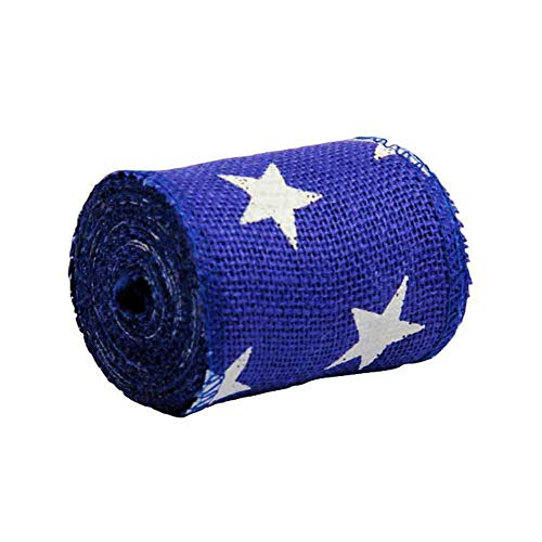 AAYU Star Printed Burlap Ribbon Blue |Perfect for Patriotic Wreath Crafting and Decorating Needs (Blue, 4 inch) (Making Bows Out Of Ribbon For Wreaths)
