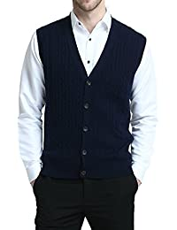 Relaxed Fit Mens V-Neck Cable Knit Cashmere Sweater Vest With Front Button Down