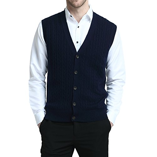 Kallspin Relaxed Fit Mens Cable Stripe V Neck Vest Sweater Cashmere Wool Blend Front Button (Navy Blue, M)