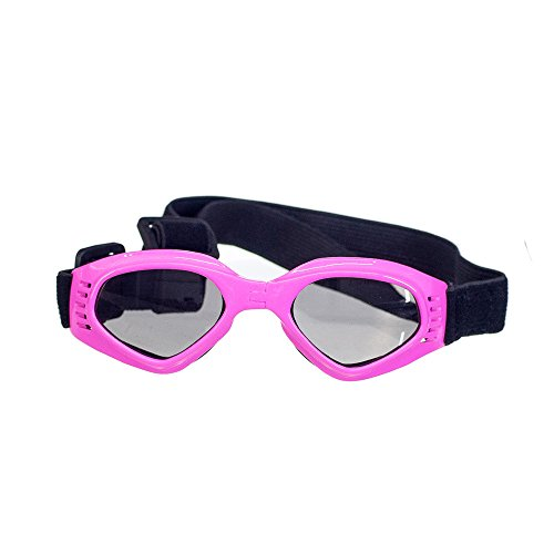 OxyPlay Dog Goggles Windproof Adorable Doggie Puppy Sunglasses for Small Dogs of Surfing, Motorcycle, Photograph … (Pink) by OxyPlay