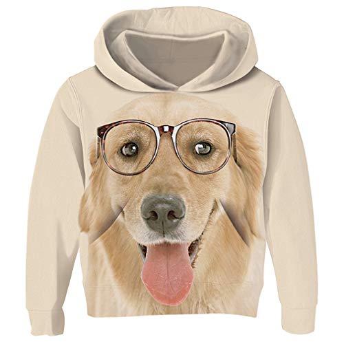 - RAISEVERN Children Hoodie Cute Golden Retriever Art Digital Print Fleece Hoodies Fashion Casual Lightweight Pullover Hooded Sweatshirt for Kids