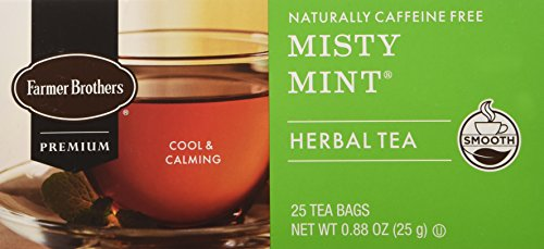 - Farmer Brothers Misty Mint Herbal Tea Tea- 25 bags Caffeine Free
