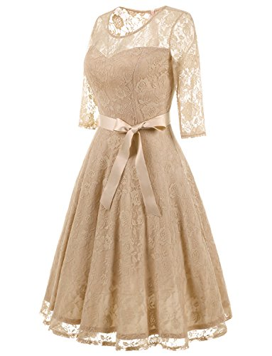 Dress Champagne Elegant Women's Midi Bridesmaid 4 Neckline Lace Illusion 3 Dresses Dressystar Sleeves Floral qaIwTTO