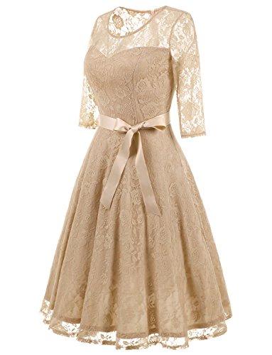 Línea Vestido 3 para Honor Mujer Encaje 4 Manga Dressystar Elegante Dama Una Champagne Verano De SqvwdE