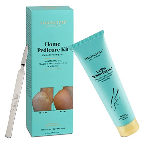 - Simon & Tom Home Pedicure Kit Callus Removing Gel for Feet. Instantly Removes Hard, Dry, Rough Skin on Heels and Soles with Hydrating Argan Oil, Soothing Aloe Vera & Vitamin E 100ml / 3.4 fl.oz