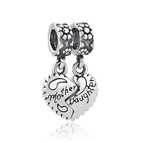 Romántico Amor Heart Love Mother Daughter 925 Sterling Silver Family Charm Beads fit Pandora Bracelets