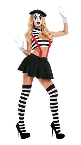 Starline Women's Sexy Hush Mime Costume Set, Black/White, Large