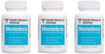 Memotenz Brain Function Supplement - 3pck - Brain Booster for Memory, Clarity and Focus - Mental Focus Nootropic