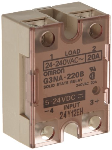 Omron G3NA-220B-DC5-24 Solid State Relay, Zero Cross Function, Yellow Indicator, Phototriac Coupler Isolation, 20 A Rated Load Current, 24 to 240 VAC Rated Load Voltage, 5 to 24 VDC Input -