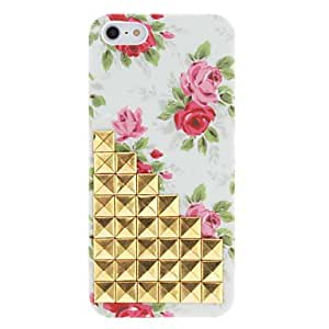 HP Novelty Design Golden Rivets Up-Stairs and Rose Pattern Hard Case with Nail Adhesive for iPhone 5/5S