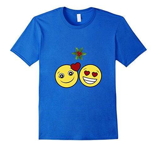 Heart Emoji Christmas Love Mistletoe Shirt - Male Medium - Royal (Mistletoe Emoji)