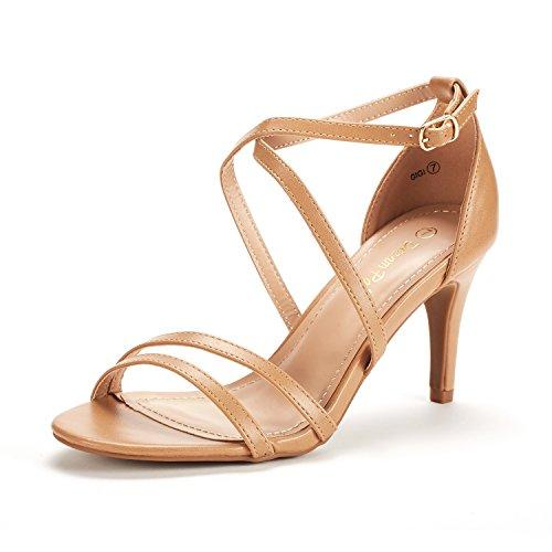 DREAM PAIRS Women's Gigi Nude Pu Fashion Stilettos Open Toe Pump Heeled Sandals Size 9 B(M) (Pump Womens Sandal)