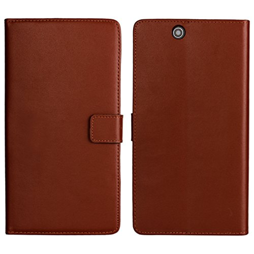 Sony Xperia Z Ultra XL39h Case, iCoverCase Genuine Leather [Card Slot] Wallet Cover Flip Phone Shell [Magnetic Closure] Kickstand Case for Sony Xperia Z Ultra XL39h C6802 C6806 C6833 (Brown) (Best Case For Sony Xperia Z Ultra)