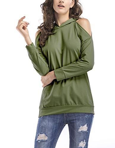 LAIKETE T Shirt Monospalla Donna Maglietta Tops Manica Lunga Rotondo Collo Senza Spalline Elegante Magliette Di Base Ragazze Tumblr Primavera Autunno T-Shirt Casual Moda Blusa Classico Tinta Unita Verde